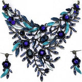 Necklace Earring Set Rhinestones Leaves Gray Blue