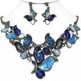 Necklace Earring Set Butterfly Gray Blue