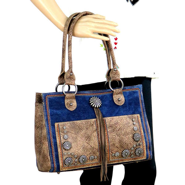 Montana West Concho Denim Collection Concealed Carry Satchel Bag