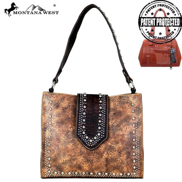 Montana West Tooled/Safari Collection Concealed Carry Tote