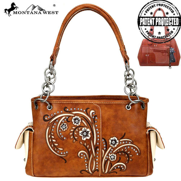 Montana West Embroidered Collection Concealed Carry Satchel