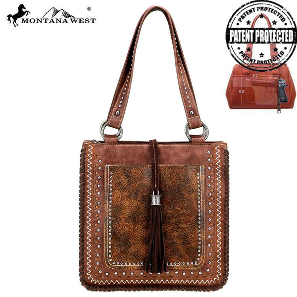 Montana West Tooled Collection Concealed Carry Tote