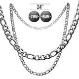 Stainless Steel Cuban/Figaro Chain in 24 Inches