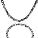 Stainless Steel Single Box byzantine and Greek Design Link Chain(24in.) and Bracelet (9in.) Set 5.5mm Wide