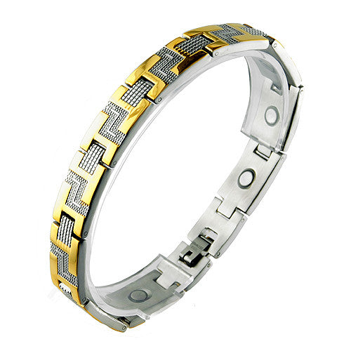 Stainless Steel with Gold PVD and Steel Magnetic Link Bracelet
