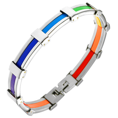 Rainbow Color Pride Stainless Steel Bracelet with Rubber