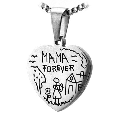 Stainless Steel Heart Mothers Pendant w/ Childs Sketch. (MAMA FOREVER)