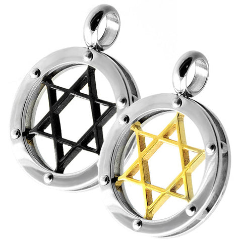 Circular Pendant with Star of David