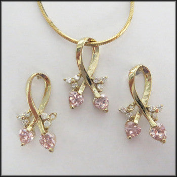 Pink Ribbon Pendant, earring and Necklace Set