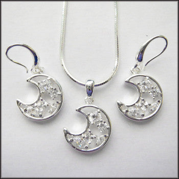 Silver Moon with CZs Pendant, earring and Necklace