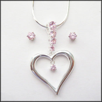 Silver and Pink Heart Pendant, earring and Necklac