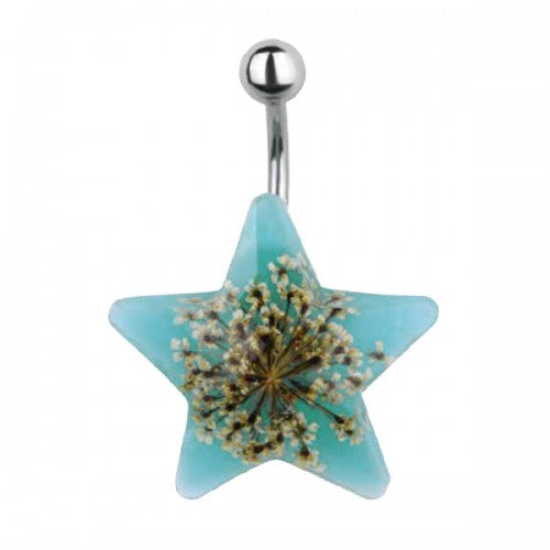 Shape Belly Ring with Dried Floral Burst