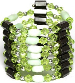 Magnetic Necklace Wrap Oval Apple Green