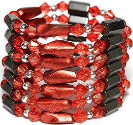 Magnetic Necklace Wrap Line Red