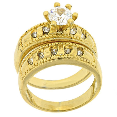 Crown Gold Layered Wedding Ring