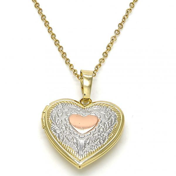 Locket Pendant, Heart and Flower Design