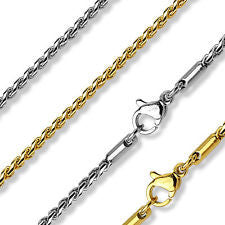 Stainless Steel 316L Gold & Silver Plated Twisted Round Link Chain Necklace