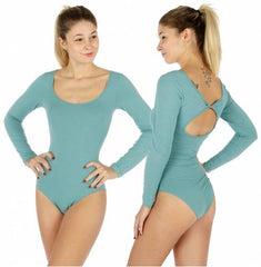 Solid long sleeve low neck bodysuit
