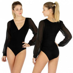 Solid sheer long sleeve crossover bodysuit