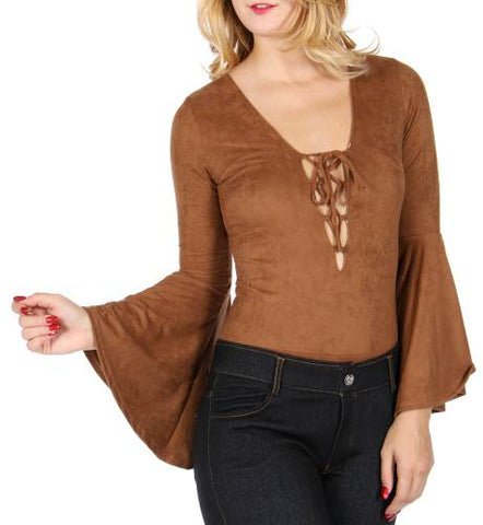 Lace up bell sleeve bodysuit