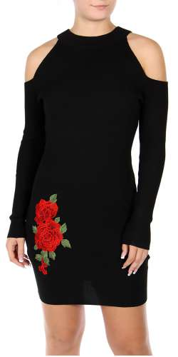 Cotton blend rose embroidered cold shoulder dress