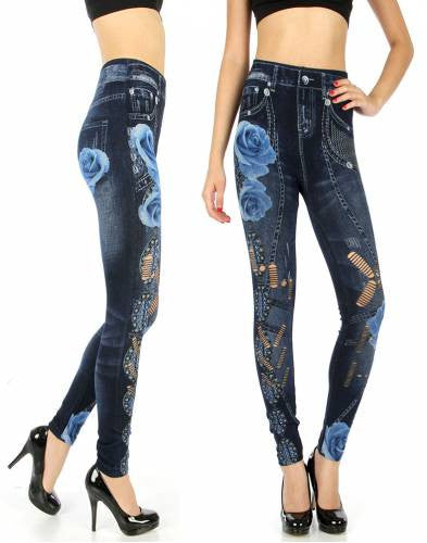 Blue flower denim leggings