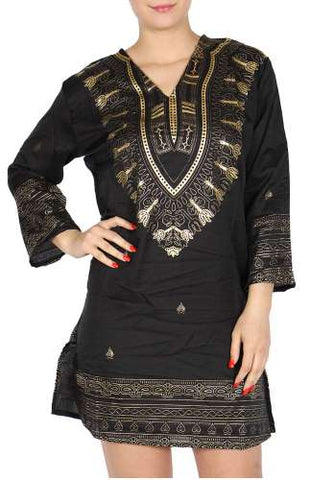 Cotton blend gold print quarter sleeve top