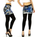 Skirt foiled leggings leopard Blue