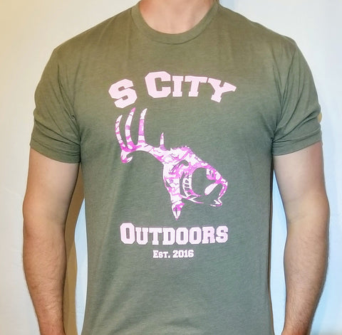 SCO Pink Camo Hunter Varsity Shirt (Military Green)