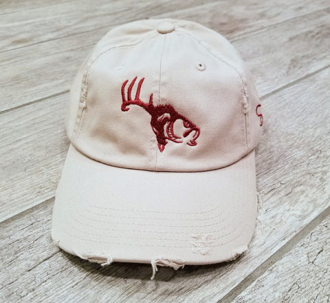 Cream/Red Adjustable Distressed Hat