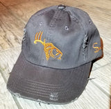 Gray/Copper Adjustable Distressed Hat