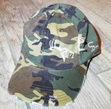 Camo/White Adjustable Distressed Hat
