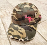 Camo/Pink Adjustable Distressed Hat