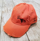 Orange/Brown Adjustable Distressed Hat