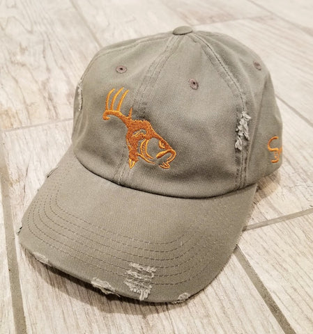 Green/Copper Adjustable Distressed Hat
