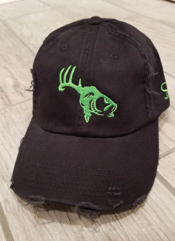 Black/Neon Green Adjustable Distressed Hat