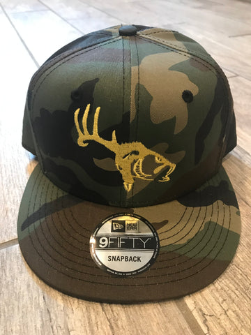 "Camo/Yellow ""HD"" Flat Brim Logo Hat"