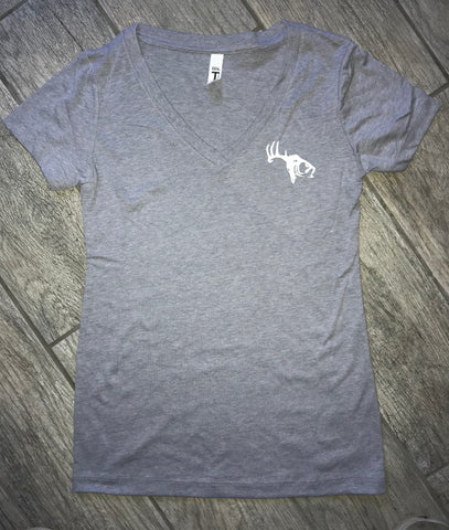 Women's Heather Gray V Neck SCO Logo T-Shirt