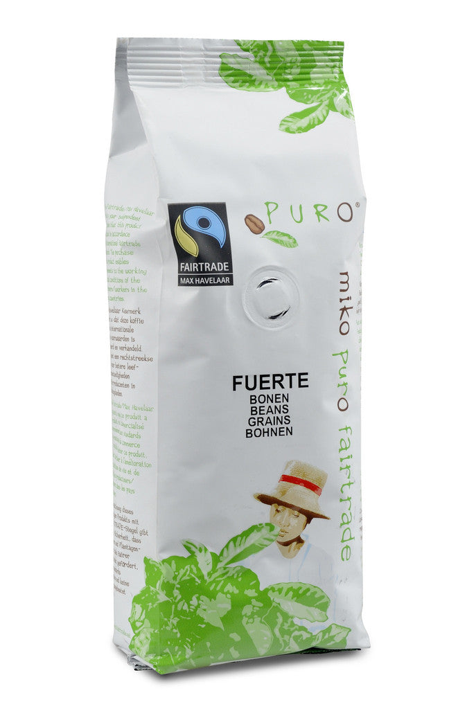 Puro Fairtrade Fuerte Espresso Beans (50% Arabica) - Available in 250g & 1kg sizes