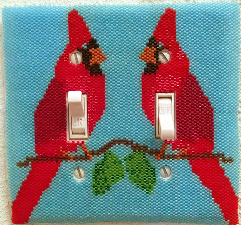 Northern Cardinal Light Switch Plate Cover-Single/Double-Bead Pattern