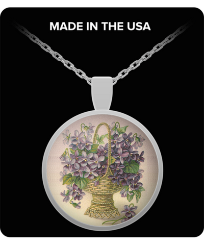 Flower Basket With Purple Flowers Necklace