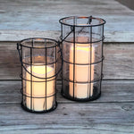 Farmhouse wire metal Lantern with battery operated candle