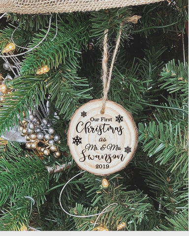 Our First Christmas Custom engraved ornament - Knot and Nest Designs