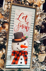 Let it Snow metal and wood Snowman Sign