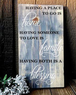 "Family Blessings Sign - Heavy Pinewood 22"" tall"