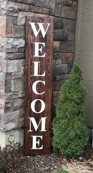 Load image into Gallery viewer, Welcome wood sign - 6' tall, 5'tall or 4' tall - Knot and Nest Designs