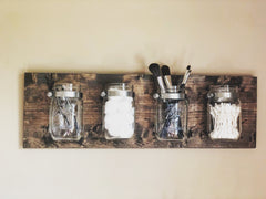 Mason jar wall organizer - Knot and Nest Designs