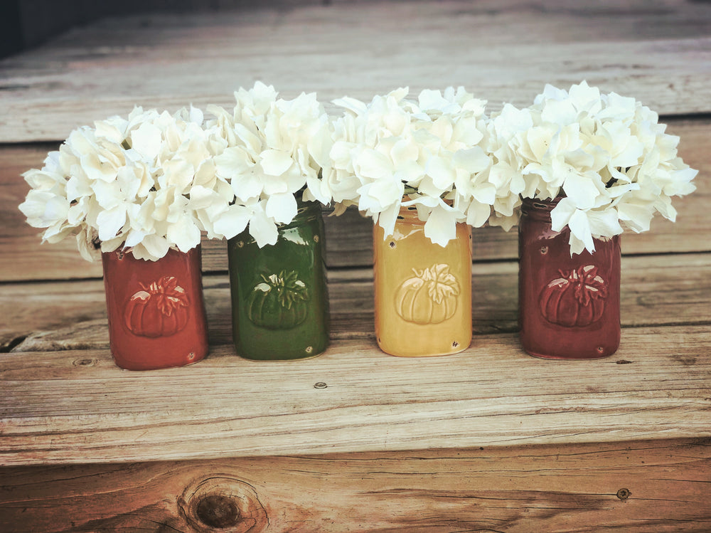 Fall Mason Jars set of 4 - fall decor - Knot and Nest Designs
