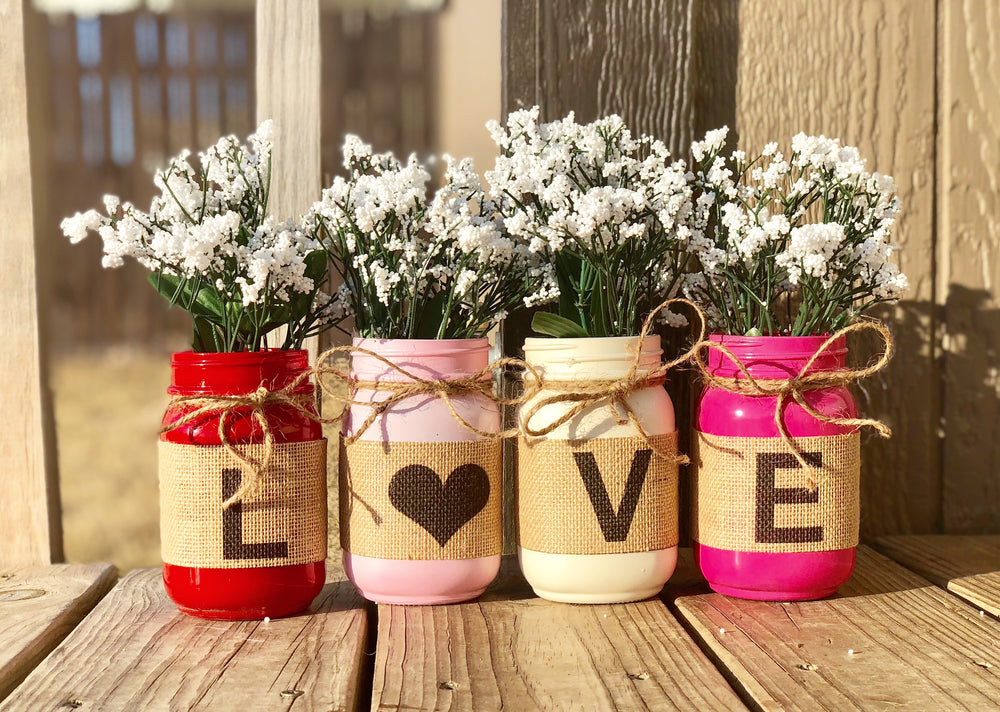 Love mason Jars set of 4 - Knot and Nest Designs
