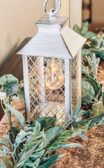 White Farmhouse Rustic bulb lantern
